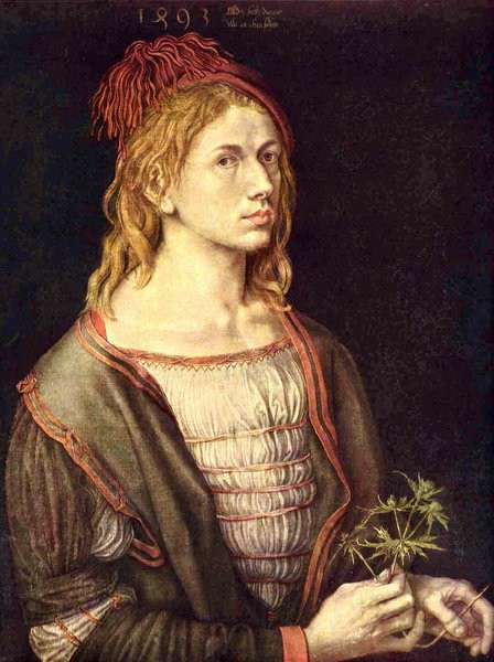 Albrecht Dürer. Autoportrait au chardon. 1493. Paris. Musée du Louvre.