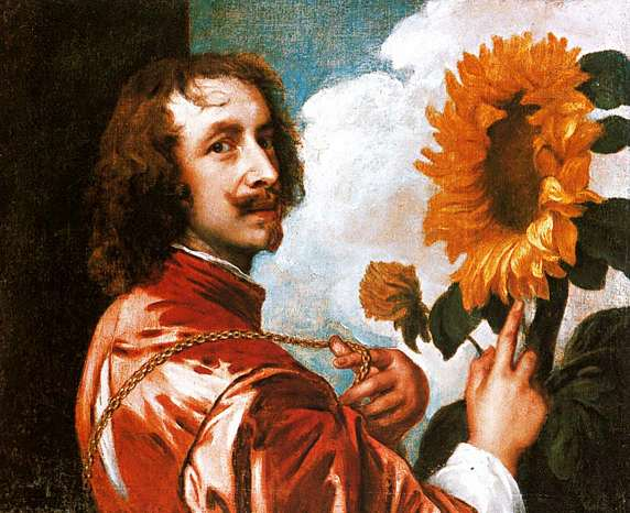 Anthony Van Dyck. Self-Portrait with a Sunflower. 1632-1633. Huile sur toile. 60x73 cm. Colleciton du Duc de Westminster