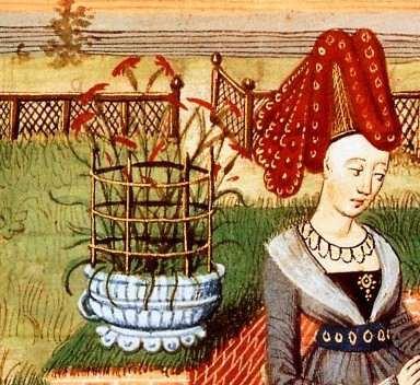 Détail du pot aux oeillets. Loyset Liedet