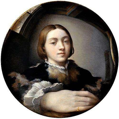 """<span style=""""font-size: 8px"""">Autoportrait dans un miroir convexe (c. 1524) Huile sur bois, diamètre 24,4 cm Kunsthistorisches Museum, Vienne  </span>"""