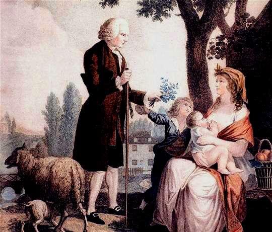Rousseau et jeune femme allaitant