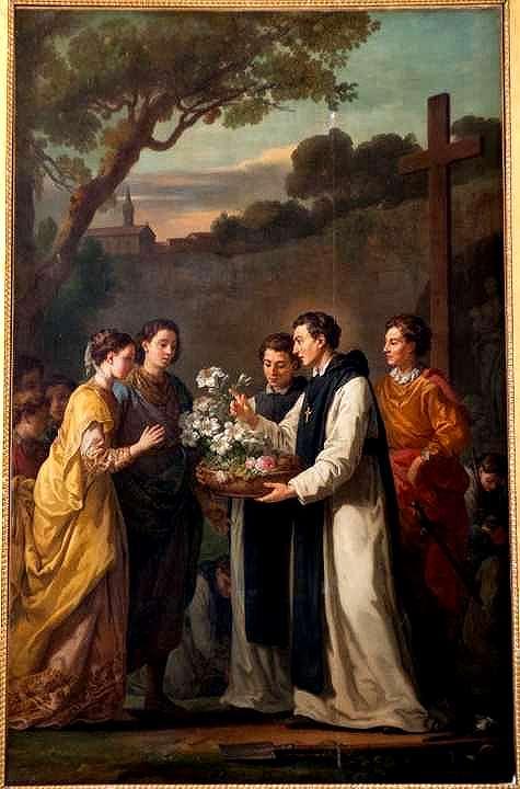 Saint Thibaut offrant à Saint Louis et Marguerite de Provence un lys à onze branches, par Joseph-Marie Vien