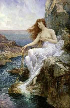 Alfred Augustus Glendening. Nymphe de mer assise sur un rocher tenant une algue. 1897. Collection particulière.