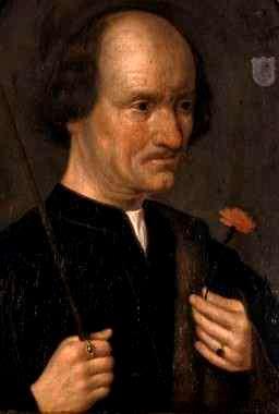 Anonyme (école hollandaise). Portrait d'homme à l'oeillet. XVIe siècle. Collection particulière