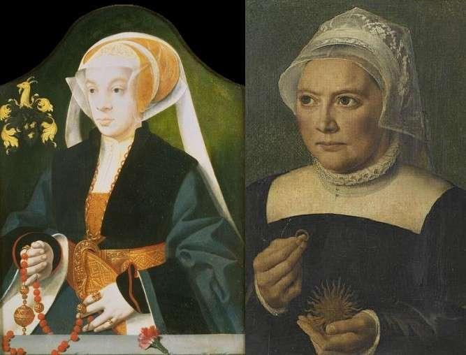 Barthel Bruyn. Femme à l'oeillet (à gauche). Portrait de Catherine de Bore, musée de Chantilly (à droite)