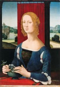 Lorenzo di Credi (Florence, 1456-1537) La dama dei gelsomini (Portrait de jeune femme aux jasmins). Huile sur toile, 75 x 54 cm Forlì, Pinacoteca Civica di Forli.