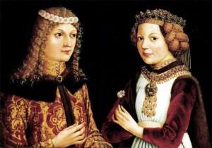 Maître autrichien (anonyme). Portrait de Ladislas le Posthume et de Madeleine de France. ca. 1480. Huile sur toile. 38,5 x 52 cm. Musée des Beaux Arts de Budapest.