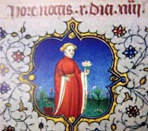 Miniature médiévale. Homme au bouquet.