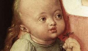 Albrecht Dürer. Vierge à la poire (détail)