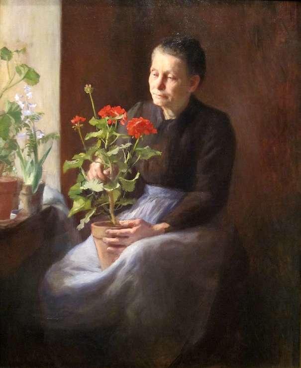 Caroline Lord. Vieille femme au géranium. 1900. Huile sur toile. 113.03 cm x 91.44 cm. Cincinnati Art Museum.
