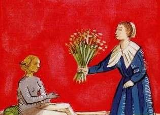 Détail image du XVIe siècle. Femme offrant un bouquet de plantes médicinales à une femme malade.
