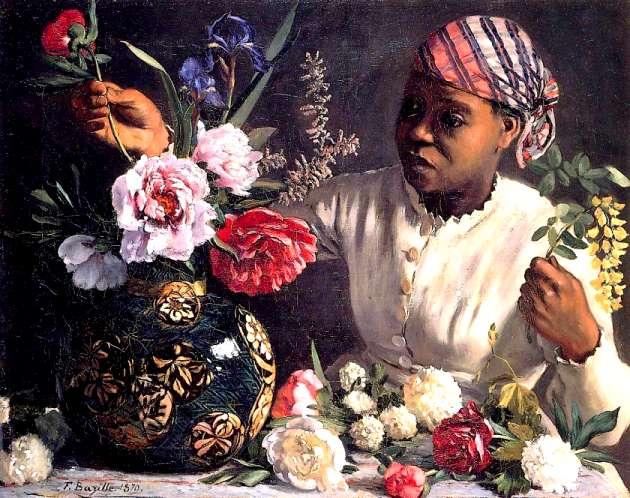 Frédéric Bazille, Femme africaine aux pivoines, 1870. Huile sur toile. 60 x 74 cm. National Gallery of Art, Washington