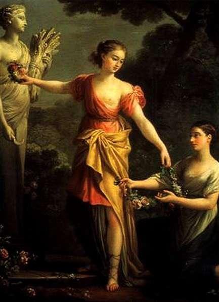 Joseph-Marie Vien. Proserpine orne de fleurs le buste de Cérès sa mère. 1762. Huile sur toile. 72 x 68 cm. Collection particulière. Paris