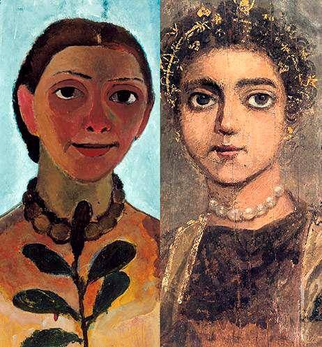 Paula Modersohn-Becker, Selbstbildnis mit Kamelien Zweig (Autoportrait à la branche de camélia). ca. 1906-7. Huile sur bois 61.5 x 30.5 cm. Museum Folkwang Essen.