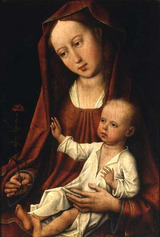 Rogier van der Weyden. Madone à l'oeillet. Huile sur panneau. 23.6 cm x 34.9 cm