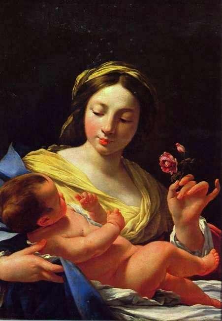 Simon Vouet. Vierge à l'enfant à la rose. Huile sur toile . 80 x 62 cm. Musée des Beaux-arts. Marseille.