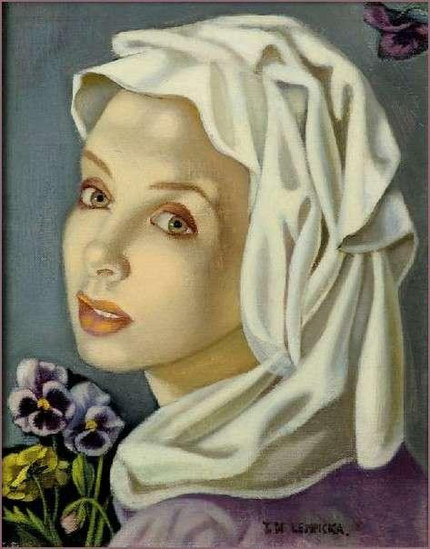Tamara de Lempicka Jeune Fille aux pensées c. 1945 Huile sur toile 25,4 x 20,3 cm Signée en bas à droite Collection Richard et Anne Paddy, États-Unis