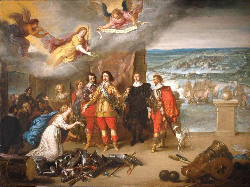 Anonyme français ou flamand. Louis XIII recevant les clefs de la Rochelle. 17e siècle. Huile sur bois. 56,4 x l75 cm. Collection du Musée d'Orbigny Bernon, La Rochelle