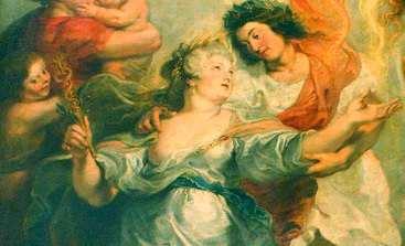 Détail. La Parfaite Réconciliation de la reine et de son fils, après la mort du connétable de Luynes, le 15 décembre 1621. Peint par Rubens. 3,94 x 2,95 m. Musée du Louvre.