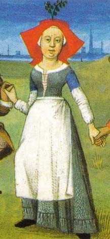 Danse des pastoureaux autour d'un mai. Heures de Charles d'Angoulême, (vers 1480) Bibliothèque Nationale de Paris