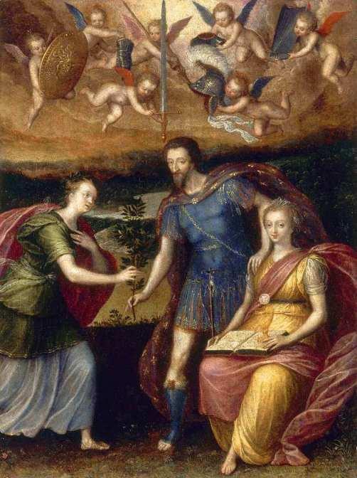Anonyme (Seconde École de Fontainebleau). Henri IV s'appuyant sur la Religion pour donner la Paix à la France. Vers 1590. Huile sur bois. 0.33m x 0.26m. Musée national du château de Pau.