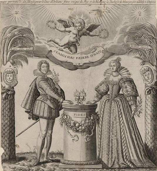 I. Picart. Les portraits de Monseigneur le duc d'Orléans, frère unique du Roi, et de Madame la duchesse de Montpensier, mariés le 6 d'Août 1626. Estampe de 1626. Bibliothèque nationale de France