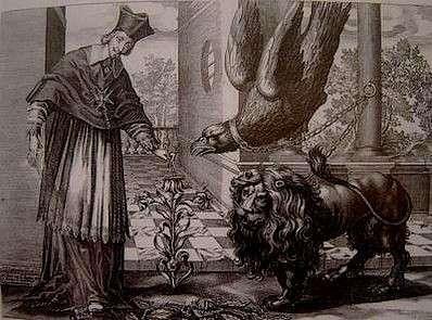 lJean Ganière. Richelieu ôtant une chenille d'une fleur de lys. Estampe. Vers 1637-1638. Paris, Bibliothèque nationale de France. Putto assis sur un globe symbolisant le monde et tenant la palme de la paix.