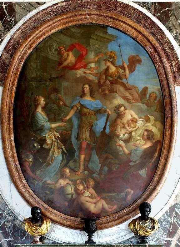 François Lemoyne. Louis XV donnant la paix à l'Europe. 1729. Huile sur toile. 3, 82 x 2, 95 m. Salon de la Paix. Château de Versailles