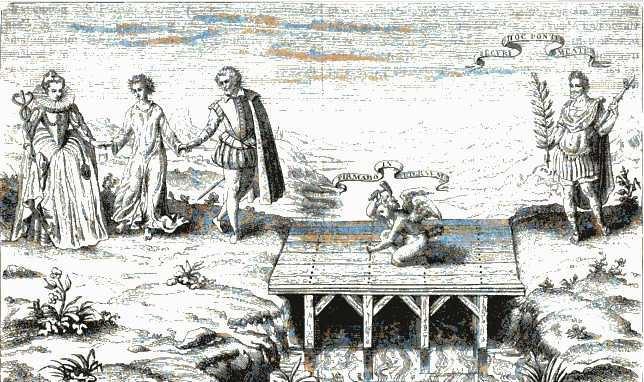 Mariage de Henri de Lorraine, marquis du Pont avec Catherine de Bourbon. Estampe de 1599 tiré de la collection de dessins historiques Hennin. Source : Le Magasin Pittoresque, volume 18, 1850