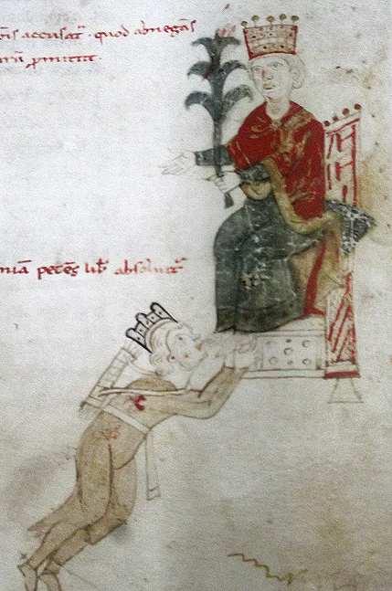 Richard déguisé est capturé par Léopold d'Autriche, 1194, cod. 120 II, f. 129r. Bibliothèque de la Bourgeoisie, Berne.