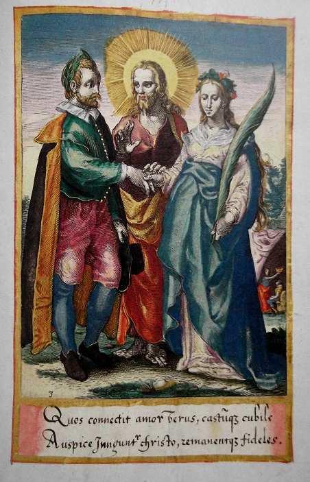 Théâtre d'Amour (Emblemata amatoria). Allégorie du mariage. Folio 74. Les deux vers latins sous la gravure signifient : « Ceux liés par le véritable amour et un lit chaste, sont unis dans le Christ et demeurent fidèles l'un à l'autre »