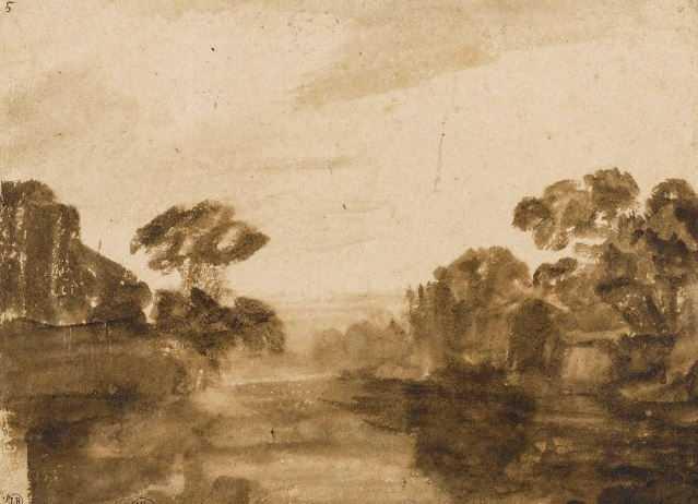 Rembrandt Cours d'eau aux rives boisées1654-1655 Pinceau et lavis brun