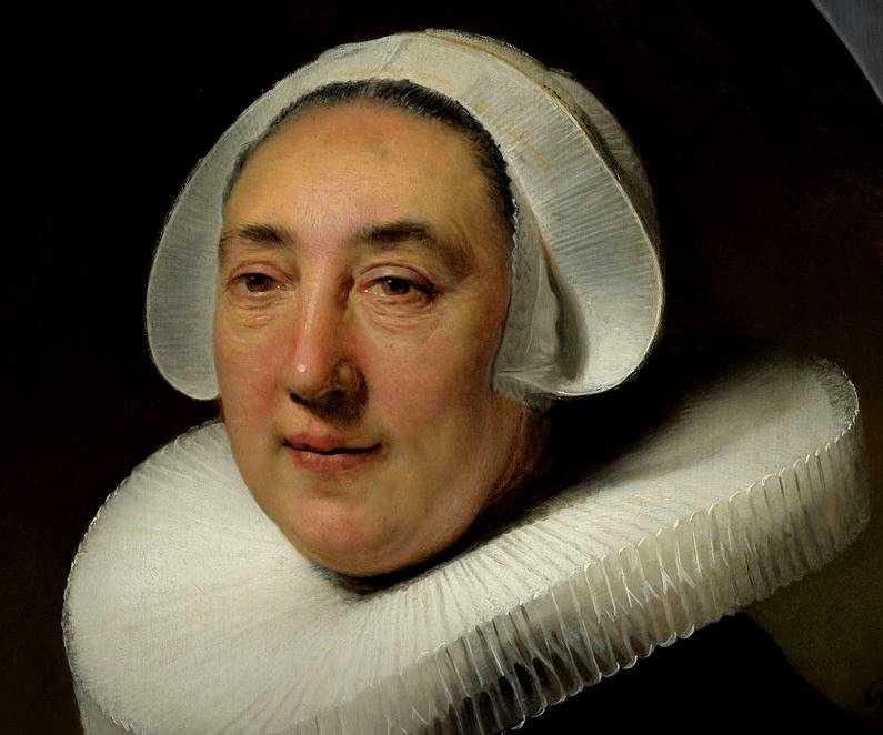 Portrait de Haesje Jacobsdr de Cleyburg, Rembrandt Harmensz. van Rijn 1634 huile sur panneau, H × W 68,6cm 53,4cm.