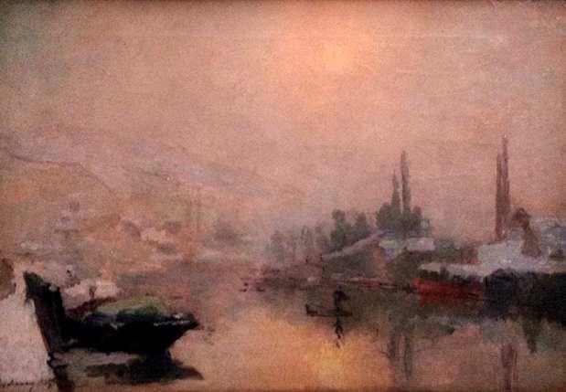 Albert Lebourg (1st Feb, 1849 - 7th Jan, 1928) La Seine et l'île Lacroix à Rouen en hiver - 1893