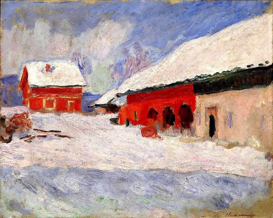 Claude Monet Norvège, les maisons rouges à Björnegaard 1895 Huile sur toile 65 x 81 cm Paris, Musée Marmottan Monet © The Bridgeman Art Library