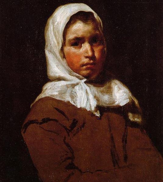 Diego Rodríguez de Silva y Velázquez (1599-1660) Jeune paysanne (La Contadina) Vers 1650 Huile sur toile, 65 × 51 cm Collection particulière