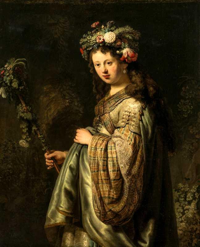 Saskia en Flore 1634 Huile sur toile 125 x 101 cm Saint-Pétersbourg, Musée de l'Ermitage Photograph © The State Hermitage Museum / Vladimir Terebenin
